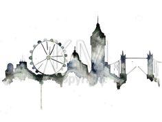 London Skyline Watercolor