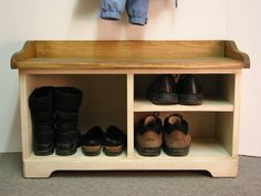 Shoe Cubby entry bench, Wood Storage Bench, Shoes Rack bench , via Etsy