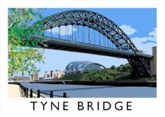 Tyne Bridge print by Richard at The Chequered Chicken. Fabulous railway style artwork created on an ipad! Posters Uk, Travel Posters, Vintage Posters, Advertising Poster, Buy Prints, British Isles, Scenery, England, Creative Review