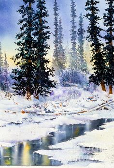 Jack Creek, Wrangell Mountains, Alaska.  watercolor, 22 x 30