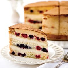 Berry Tiramisu, tender Genoise cake is soaked in essence of Italian Muscat wine, and layered with creamy mascarpone, sweet raspberries and blueberries. The sweetness of the Muscat if the ideal complement to the berries. Gourmet Cakes, Gourmet Desserts, Healthy Desserts, Genoise Cake, Cheese Cultures, Swirl Cake, Tiramisu Cake, Cupcake Cakes, Cupcakes