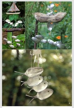 Windchimes && garden art made of old spoons. Neato.