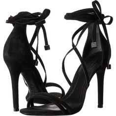 Schutz Lola (Black) High Heels (140 BAM) ❤ liked on Polyvore featuring shoes, sandals, heels, sapatos, black, strappy high heel sandals, lace-up sandals, black heeled sandals, black lace up sandals and black leather shoes