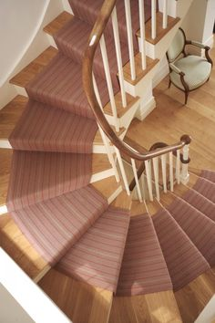 Stair Runners, carpet runners, stair rods and hall runners Staircase Carpet Runner, Carpet Stair Treads, Hallway Carpet Runners, Curved Staircase, Carpet Stairs, Staircase Design, Stair Runners, Winding Staircase, Home Carpet
