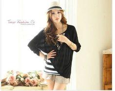 Black Long Sleeves Asymmetric Cotton Blouse  1