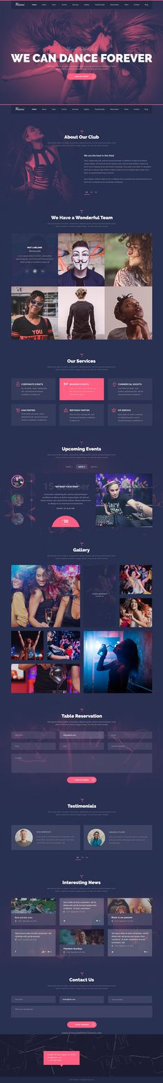 Buy Miami - Stylish NightClub PSD Template by wp-copilot on ThemeForest. Miami a visually powerful PSD template for your dance club, night club, lounge bar, or DJ career. The template has u. Web Layout, Website Layout, Miami Night Club, Event Landing Page, Amazing Website Designs, Adobe Muse, Event Website, Web Design Projects, Design Web