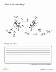 First Grade Animals Writing Stories Worksheets: Crabby Story Starter