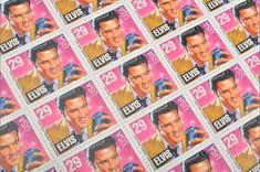 Pack of 25 Unused Elvis Presley Stamps - - Vintage Unused Postage from 1993 - Quantity of 25 Pink And Purple Background, Purple Backgrounds, Pink Purple, Elvis Presley Stamps, Black Envelopes, Wedding Envelopes, Vintage Stamps, Unique Vintage, Birthday Invitations