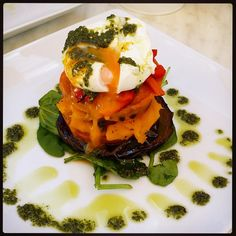 The Gourmet Vegetable Stack - Seasonal vegetables served at room temperature, sprinkled with goats cheese and basil pesto topped with a soft poached egg | MillPoint Caffee Bookshop | Vegetarian | Paleo | The Grizzly Bear Perth