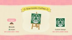 """Not sure if this has been done yet, but here is a Starnooks Coffee design for your coffee shops! Animal Crossing Pattern, Animal Crossing Guide, Animal Crossing Qr Codes Clothes, Animal Crossing Humor, Animal Crossing Leaf, Animal Games, My Animal, Animal Crossing Coffee, Brand Identity Design"