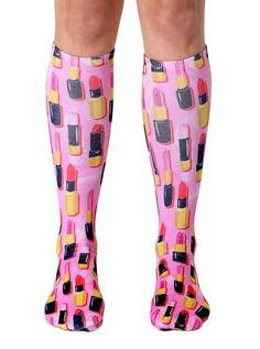 Donuts Heart Womens Knee High Socks Winter Warm Boot Socks Tube Stockings
