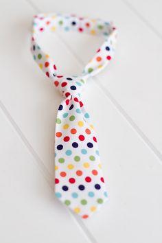 Newborn, Boys or Mens Rainbow Multi-Colored Polka Dot Neck Tie & Photography Prop
