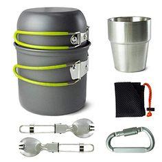 BeGrit 6 PCS Kit de Casseroles Camping Poêlé en Aluminium Antiadhésive Ensemble de Popotes Portables Extérieur Casseroles de Cuisine avec Fork Cup pour 1-2 Personnes Camping en Plein Air Pédestre