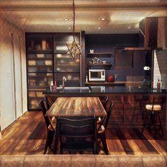 絵みたいな加工ᐠ( ᐢᐢ )ᐟ  *  *  *  #キッチン#キッチン収納#見せる収納#生活感#エトワール#黒板クロス#アイランドキッチン#kitchen#ペンダントライト