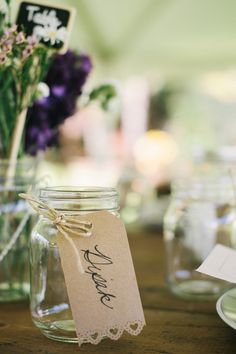 Adorable craft paper mason jar drink tags | real wedding inspiration from Christie Pham Photography via AislePlanner.com