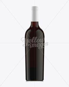 75cl Aleka Antique Green Bottle W/ Red Wine Mockup