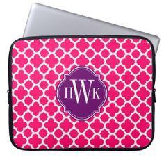 Pink and White Quatrefoil Pattern Monogram Laptop Sleeves