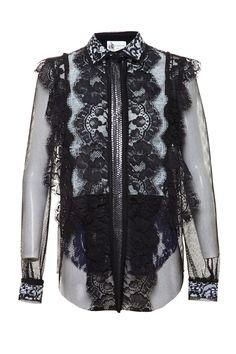 Lanvin black lace blouse