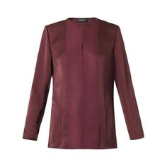 Lanvin Round-neck washed-satin blouse featuring polyvore, fashion, clothing, tops, blouses, burgundy, red satin blouse, satin top, round neck top, lanvin blouse and lanvin top