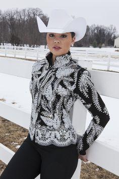 MISS KARLA'S CLOSET Custom Jacket / Showmaship / Halter / Rail $1875 Black and SIlver on Black base. Other colors can be ordered. http://www.misskarlascloset.com/western-show-apparel/mkc-custom-designs/custom-jacket-black-silver-white.html