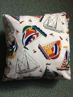 "Sailboat Pillow 16"" x 16"" Zipper Closure New PB Pillow Form Nautical Coastal Living~ Spinnaker ~ Great for Boat, Seaside or Beach Home ~ Fun by ArtThatCooks on Etsy"