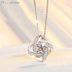 Envío de la gota de Cadena de Plata de Ley 925 Collares de Cristal Colgantes y Collares Joyería Collar colar de Plata