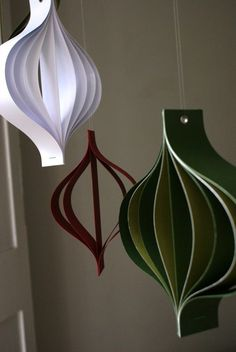 Paper Christmas decorations large red white and green by bookity, $25.00
