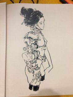 Inktober Art inspiration and artwork drawing Drawing Sketches, Cool Drawings, Junggi Kim, Arte Robot, Robot Concept Art, Kim Jung, Cyberpunk 2077, Poses References, Sketchbook Inspiration