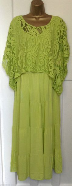 OMG I love this. Italian Soft Layered Dress-2 Piece Dress with Crochet Lace Top One Size(UK12-16) | eBay