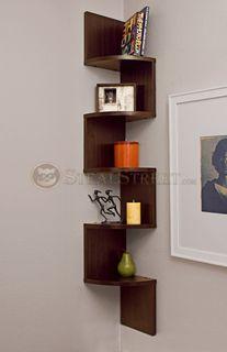 Large Walnut Veneer Corner Wall Mount Shelf: SS-DB-XF11035 #StealStreet. Modern, Home, Office, Bedroom, Living Room Decor.
