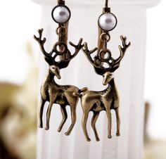 Retro antelope inlaid pearl earrings, cheap fashion earring ,shop at www.costwe.com