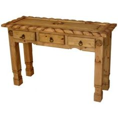 The unique hand carved rope edges give this table a distinctive southwestern appearance. It has three drawers that are perfect for storing small items. This console table is great to put behind a sofa or in an entry way. It is an affordable, hand made console table makes a great impression.