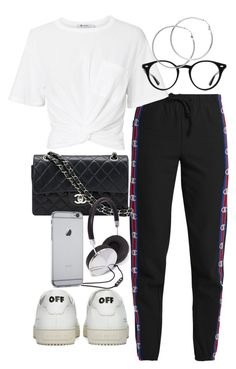 """Untitled #2402"" by mariie00h ❤ liked on Polyvore featuring Vetements, Off-White, T By Alexander Wang, Chanel, Ray-Ban, Melissa Odabash and Forever 21"