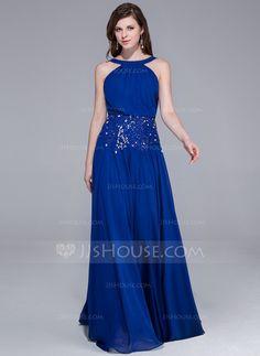 A-Line/Princess Scoop Neck Floor-Length Chiffon Evening Dress With Beading (018025464) - JJsHouse