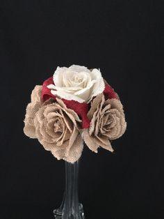Burlap Rose Bridesmaid Bouquet - what a unique idea! great consideration for those brides not looking to use real flowers. And look how elegant and classic it looks! #weddings #bouquet