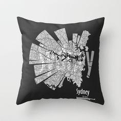 Sydney Throw Pillow by Shirt Urbanization - $20.00 http://society6.com/ShirtUrbanization/Sydney-hb6_Pillow