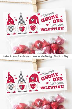 PRINTABLE Valentines for Kids Valentine Treat Bag Toppers, Gnome Valentine Cards Classroom Valentines Day Card, Treat Tags, Valentine Gnomes Valentines Goodie Bags, Homemade Valentines Day Cards, Valentine Gifts For Kids, Valentine Treats, Valentine Day Crafts, Valentine Decorations, Valentine Cards, Free Printable Valentines, My Funny Valentine