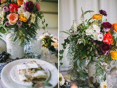 Bright centerpiece. Bohemian macrame wedding inspiration. Let's Frolic Together photography. Venue: The Slate Barn & Gardens Vista, California