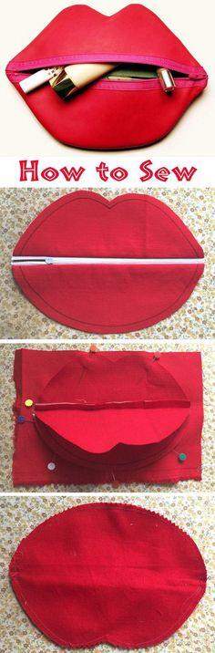 DIY Zipped Lip Makeup or Cosmetic Bag.