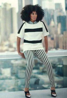 Hudson Jeans Krista Stripe Jean in Black/White - as seen on Solange Knowles  $154