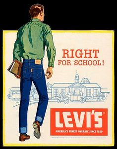 1950's counter card for Levi Jeans