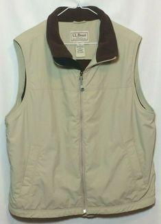 LL Bean Sleeveless Vest Mens Size L Khaki Jacket Great Condition Cotton Vest, Wool Vest, Fleece Vest, Khaki Chino Pants, Khaki Jacket, Shirt Jacket, Sleeveless Vest Mens, Mens Rugby Shirts, Ll Bean Men