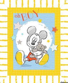 "Mickey - Oh Boy Teddy Bear - White - 36"" x 44"" PANEL"