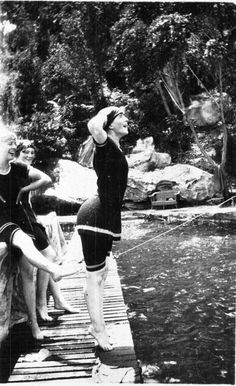 women with very modest Canadian-style bathing costumes diving at Port Hacking c 1910