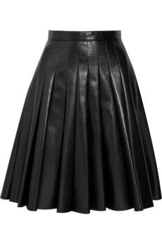 JUNYA WATANABE Pleated A-line faux leather skirt $565