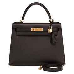 6edf9dc8199d For Sale on - Hermes black Sellier Kelly of epsom leather with gold hardware.  This Kelly Sellier has tonal stitching