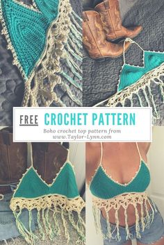 Free crochet pattern for a boho crochet top. The fringe and lace finishers add some cute texture to this crochet top!