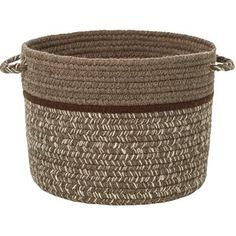 Rhody Rug 18 x 12 in. Casual Comfort Mocha Banded Basket, As Shown Fabric Storage Boxes, Fabric Bins, Storage Baskets, Fabric Basket, Animal Projects, Decorative Storage, Sophisticated Style, Wicker, Band