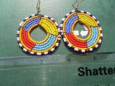 Hand Made African Masai Beads Earrings 14152 by nariv on Etsy