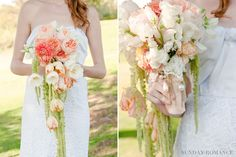 This bouquet is so feminine and romantic!    The 'NEW' Cascading Bouquet   San Diego Wedding Blog